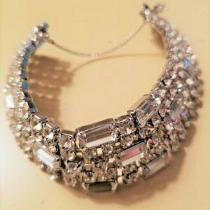 Vintage Rhinestone Cuff Bracelet with Safety Chain